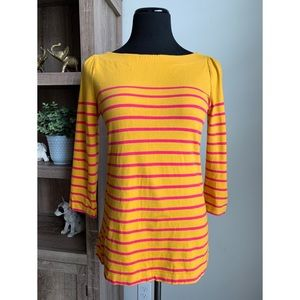 LOFT Mustard Yellow Pink Striped 3/4 Sleeve Top S